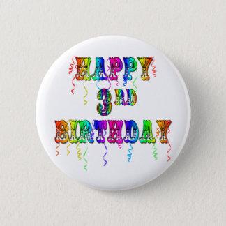 Glücklicher 3. Geburtstags-Zirkus-Schriftart - Runder Button 5,7 Cm