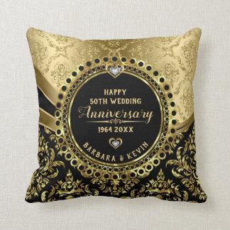 Glücklicher 50. Hochzeitstag-schwarzes u. Kissen
