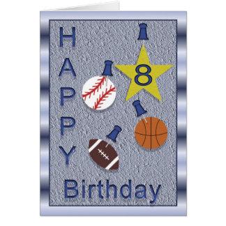 Glücklicher 8. Geburtstags-Sport - Karte