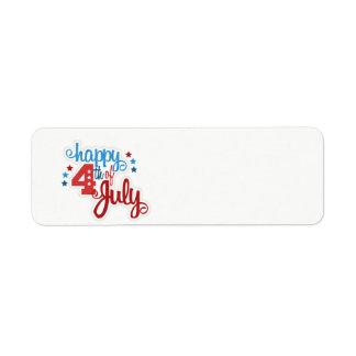Glücklicher am 4. Juli Text Rücksendeetiketten