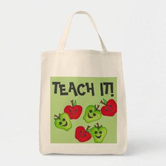 """""""Glücklicher Apfel-Lehrer-"""" grüne u. rote Tragetasche"""