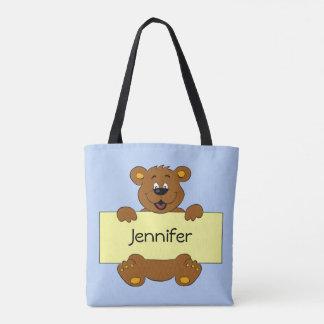 Glücklicher Bär mit kundengerechtem Fahnen-Cartoon