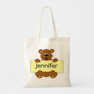 Glücklicher Bär mit kundengerechtem Fahnen-Cartoon Tragetasche