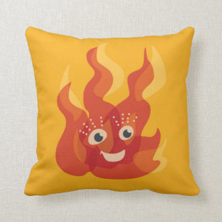 Glücklicher brennender Feuer-Flammen-Charakter Kissen