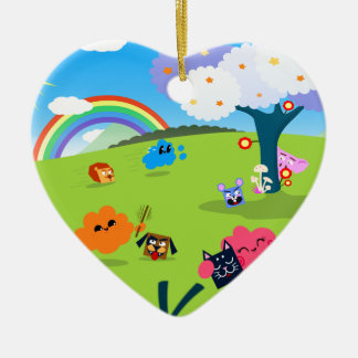 Glücklicher bunter Planet 02 Keramik Herz-Ornament