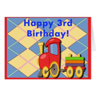 Glücklicher dritter Geburtstags-Zug Karte