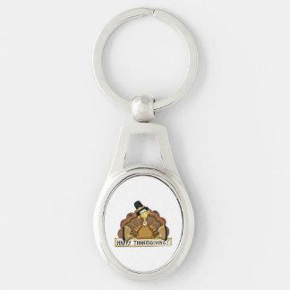 Glücklicher Erntedank die Türkei Silberfarbener Oval Schlüsselanhänger