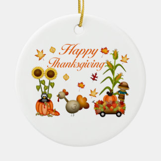 Glücklicher Erntedank-Herbst verlässt Kürbis u. Keramik Ornament