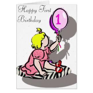 Glücklicher erster Geburtstag - MÄDCHEN Grußkarte