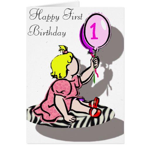 Glücklicher erster Geburtstag - MÄDCHEN Grußkarten