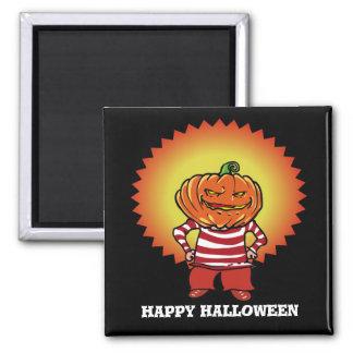 glücklicher Halloween-Kürbishauptjungen-Cartoon Quadratischer Magnet