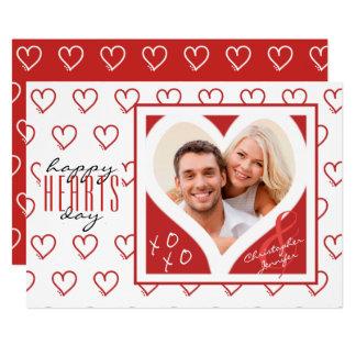 glücklicher HERZ-Tag von Paaren | rote u. weiße Karte