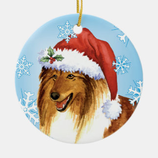 Glücklicher Howliday Collie Keramik Ornament