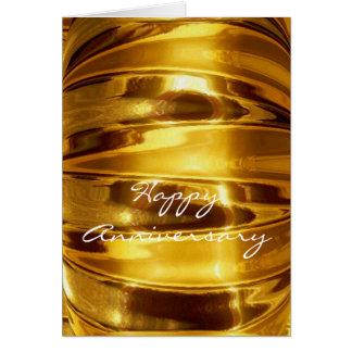 Glücklicher Jahrestag in funkelndem Gold Grußkarte