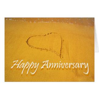Glücklicher Jahrestag, Liebeherz gezeichnet im Grußkarte