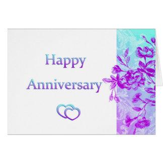 Glücklicher Jahrestag (lila) Grußkarte
