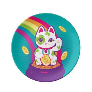 Glücklicher Katze Maneki Neko viel Glück-Topf Gold Porzellanteller