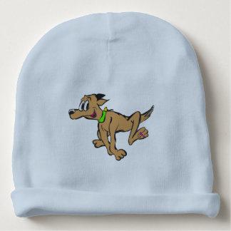 Glücklicher laufender Hund kundengerechtes Beannie Babymütze
