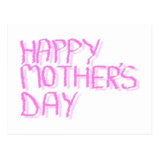 Glücklicher Mutter-Tag.  Rosa Buchstaben Postkarte