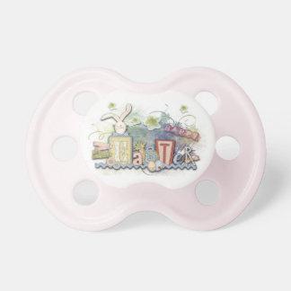Glücklicher Osterhasen-Baby-Rosa-Mädchen-Schnuller Schnuller