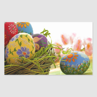 Glücklicher Ostern-Entwurf Rechteckiger Aufkleber