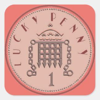 Glücklicher Penny-Aufkleber Quadratischer Aufkleber