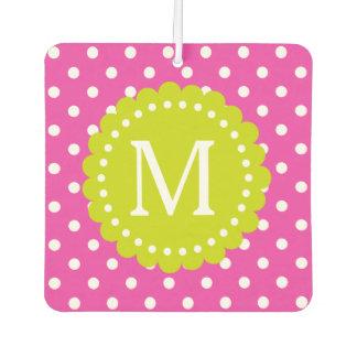 Glücklicher rosa und weißer Polka-Punkt mit Autolufterfrischer