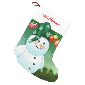 Glücklicher Schneemann mit grünem Hut Kleiner Weihnachtsstrumpf