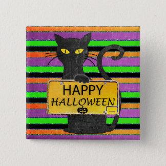 Glücklicher schwarze Katzen-rustikaler Quadratischer Button 5,1 Cm