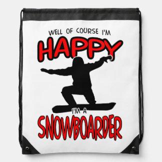 Glücklicher SNOWBOARDER (Schwarzes) Sportbeutel