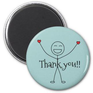 Glücklicher Stock-Mann danken Ihnen Dankbarkeit Runder Magnet 5,7 Cm