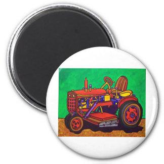 Glücklicher Traktor durch Piliero Runder Magnet 5,1 Cm