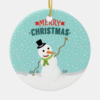 Glücklicher wunderlicher Schneemann am Rundes Keramik Ornament