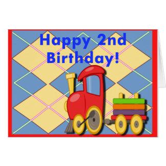 Glücklicher zweiter Geburtstags-Zug Karte