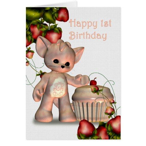 Glückliches 1. Geburtstags-Mädchen Grußkarten