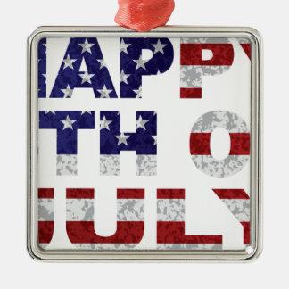Glückliches 4. der Juli-Flaggen-Text-Kontur Txture Quadratisches Silberfarbenes Ornament