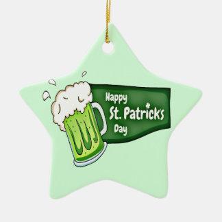 Glückliches Bier St. Patricks Tages Keramik Stern-Ornament