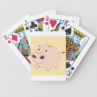 Glückliches Cartoon-Baby-Flusspferd Bicycle Spielkarten