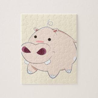 Glückliches Cartoon-Baby-Flusspferd Puzzle