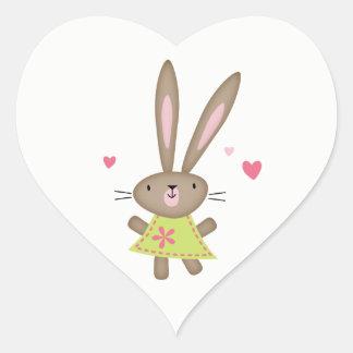 Glückliches Gedanken-Häschen-Herz Herz-Aufkleber