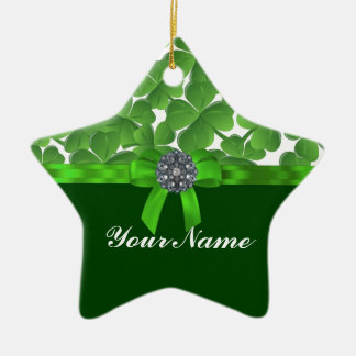 Glückliches grünes Kleeblattmuster Keramik Stern-Ornament