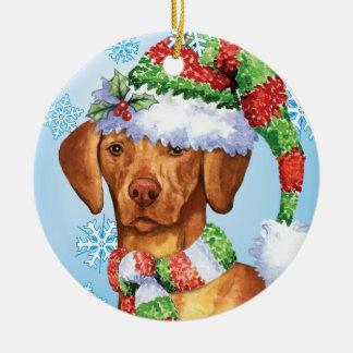 Glückliches Howlidays Vizsla Keramik Ornament