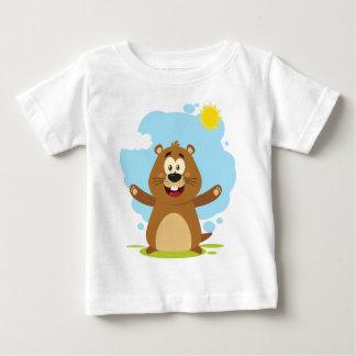 Glückliches Murmeltier-Cartoon-Maskottchen Baby T-shirt