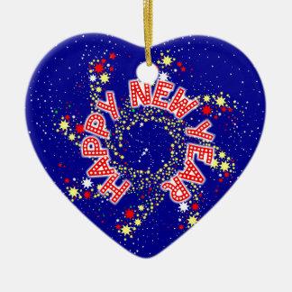 Glückliches neues Jahr-Button-Rad Keramik Herz-Ornament