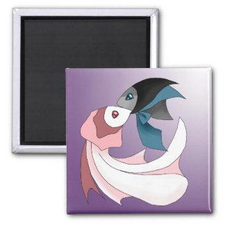 Glückliches Paar des Fisch-Hochzeits-Magneten Quadratischer Magnet