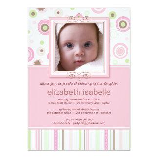 Glückliches Rosa punktiert Baby-Foto-Taufeinladung 12,7 X 17,8 Cm Einladungskarte