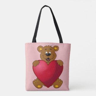 Glückliches teddybear mit Herz-Cartoon