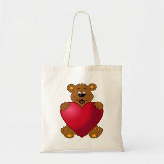 Glückliches teddybear mit Herz-Cartoon Tragetasche