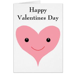 Glückliches Valentinstag-Rosa-Herz Karte