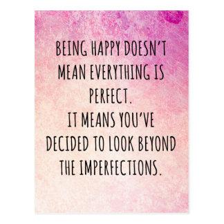 Glückliches Zitat sein Postkarte